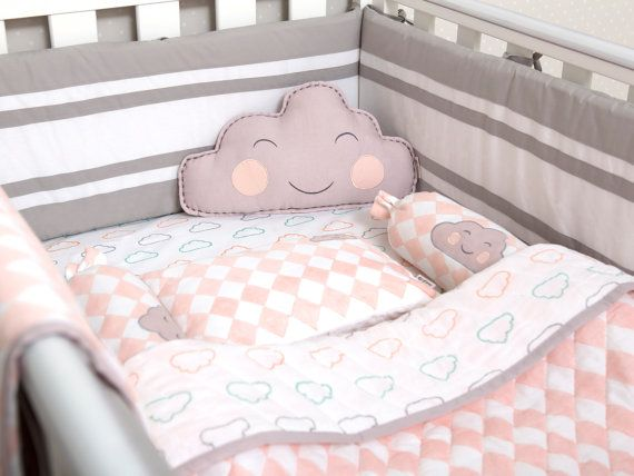Happy Cloud-Organic Crib Bedding Set Baby by MasiloLinen4Littles