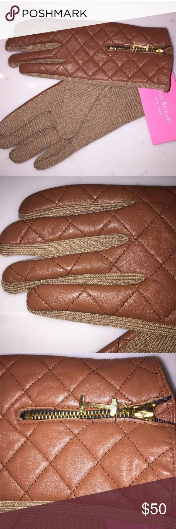 """Isaac Mizrahi NY Quilted Leather Driving Gloves Isaac Mizrahi New York Brown quilted leather upper, camel colored Knit palm.  Gold toned zipper with """"I"""" zipper pull.  Brand new with tags. New with Tags Isaac Mizrahi Accessories Gloves & Mittens"""