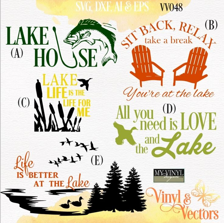 DIGITAL DOWNLOAD ... Lake House vectors in AI, EPS, GSD, & SVG formats @ My Vinyl Designer #myvinyldesigner #vinylandvectors