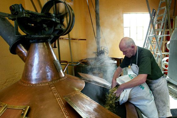 Belgian 61-year-old master-brewer Jean-Pierre Van Roy adds hops to a brew kettle at the traditional Cantillon brewery in Brussels.