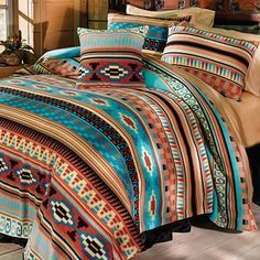 Limited Time Only – Starting at $69.95! Not sold in stores and makes the PERFECT Gift! 3 Piece Mesa Fleece Bedding Set WESTERN LIFE STYLE BEDDING Colorful stri