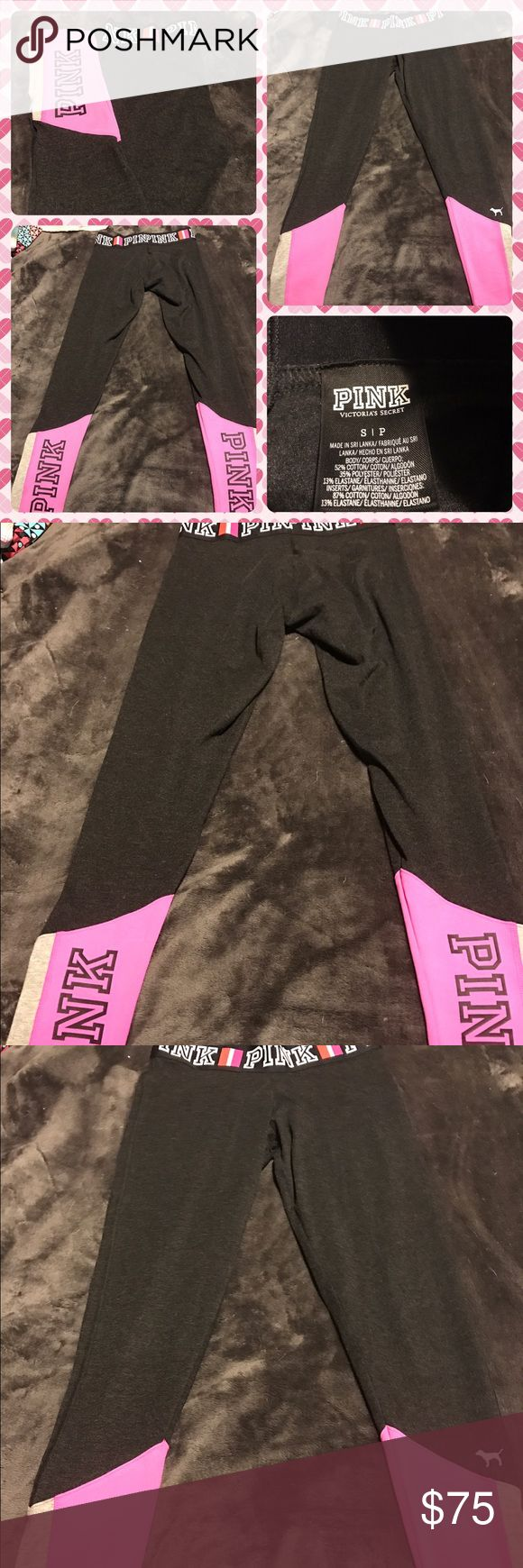 Like New Pink Victoria'sSecret Black Leggings Like new Pink Victoria'sSecret black leggings the letters PINK in white around waistband.  Near the bottom of both legs has Pink and gray with the letters PINK in black on the back.  Size small.  No trades.  Will price drop. PINK Victoria's Secret Pants Leggings