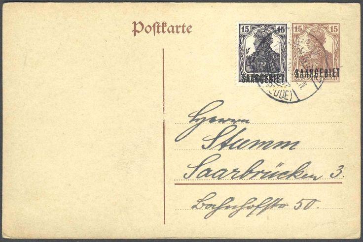 Germany, Saar, Saargebiet 1920, 15 Pfg.-GA-Postkarte, Typ II, mit Beifrankatur (15 Pfg.), von Jägersfreude nach Saarbrücken gelaufen (Mi.-Nr.P 2 II /Mi.EUR 120,--). Price Estimate (8/2016): 35 EUR.