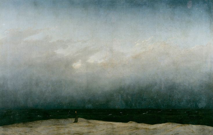 Caspar David Friedrich, Monaco in riva al mare, 1809-1810, olio su tela, 110×171,5 cm, Alte Nationalgalerie, Berlino
