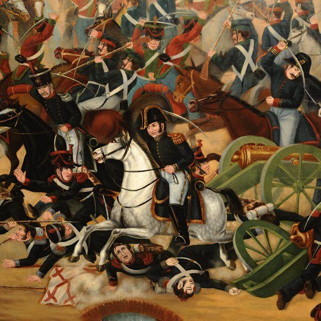 """La batalla de Rancague (detalle) - Rancagua - Wikipedia, la enciclopedia libre La batalla de Rancagua, es un enfrentamiento armado entre el bando patriota y el bando realista, enfrentados en el marco de la Guerra de Independencia de Chile, acaecido el 1 y 2 de octubre de 1814. La derrota de los patriotas, señaló el fin de la primera etapa de este proceso histórico, denominado """"Patria Vieja""""."""