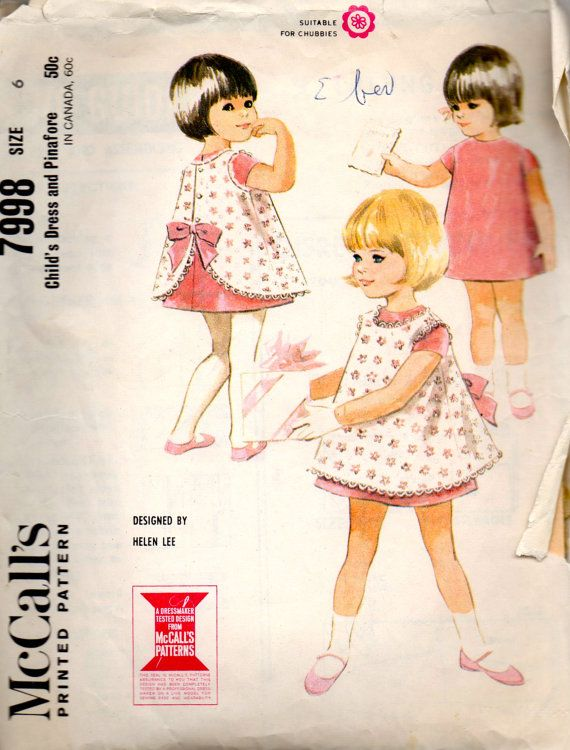 1960s McCalls 7998 Girls Dress and Pinafore Pattern HELEN LEE Childs Vintage Sewing Pattern Size 6 Breast 24