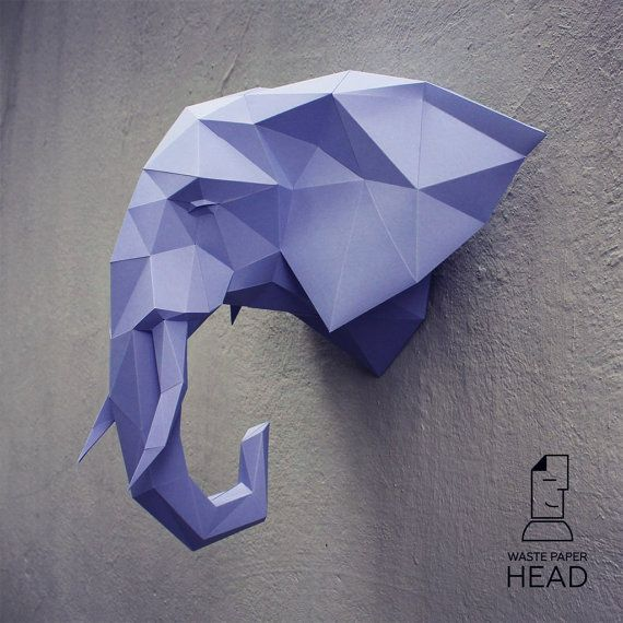 Papercraft elephant head 2  printable DIY by WastePaperHead