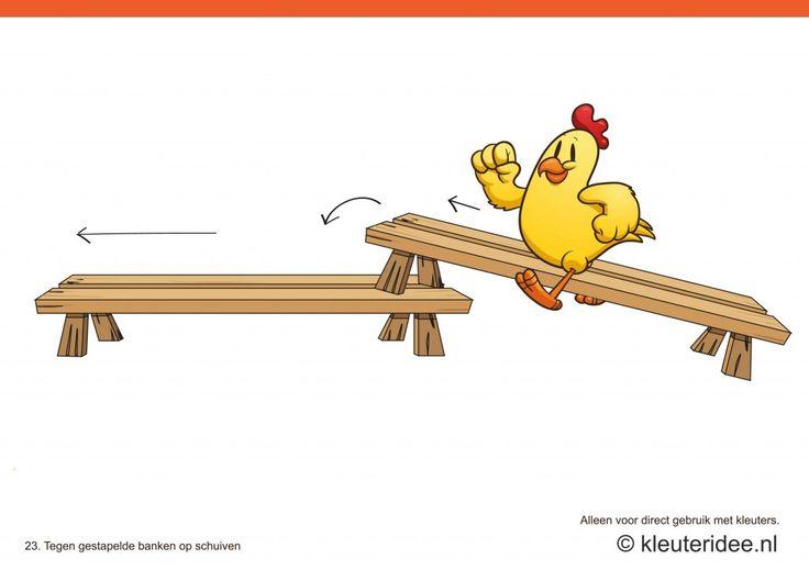 Bewegingskaarten kip voor kleuters 23, Tegen gestapelde banken op schuiven , kleuteridee.nl , thema Lente, Movementcards for preschool, free printable