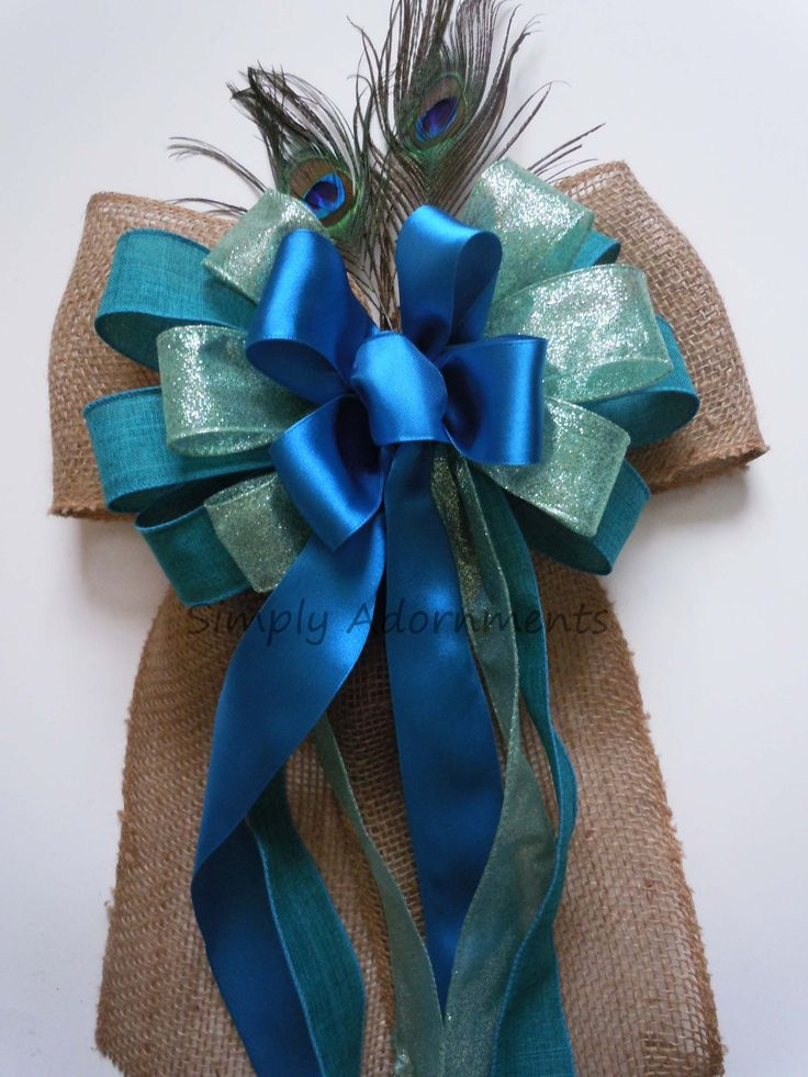 Teal Blue Peacock Wedding Pew Bow Peacock Themed Party