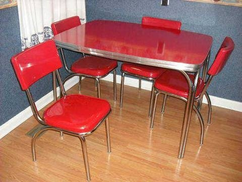 Original 1950s Red Formica u0026 Chrome Dinette Set Table and Four Chairs for  $350 | chrome kitchen dinette table and chairs | Pinterest | Dinette sets,  ...