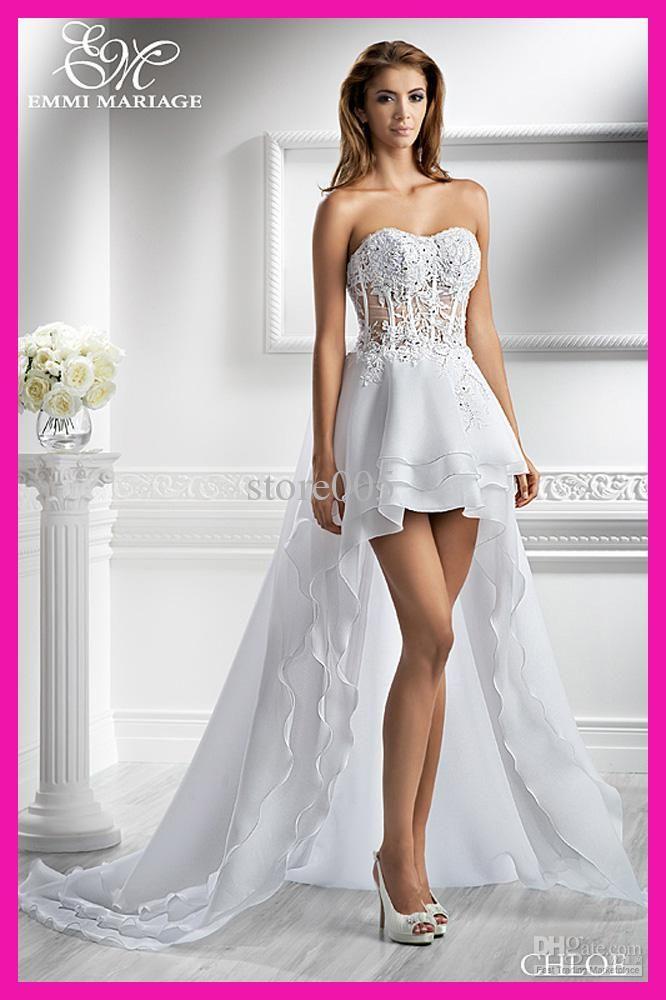 2013 Beach Short Front Long Back Lace Organza Bridal Wedding Dress Dresses W1375
