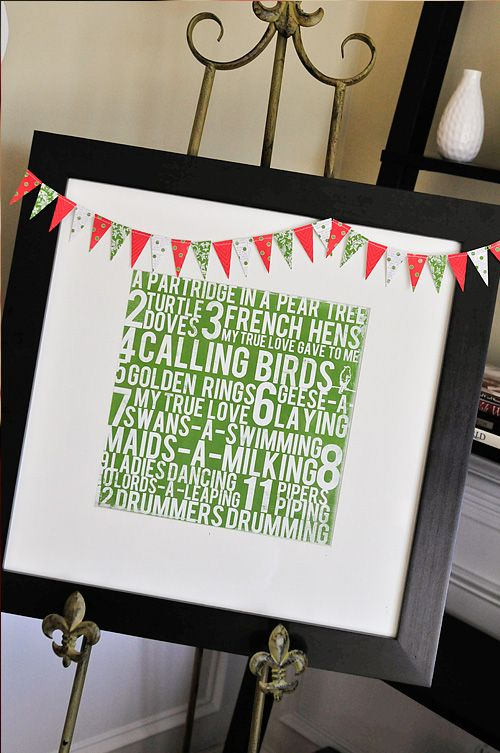 12 Days of Christmas paper, framed.Holiday