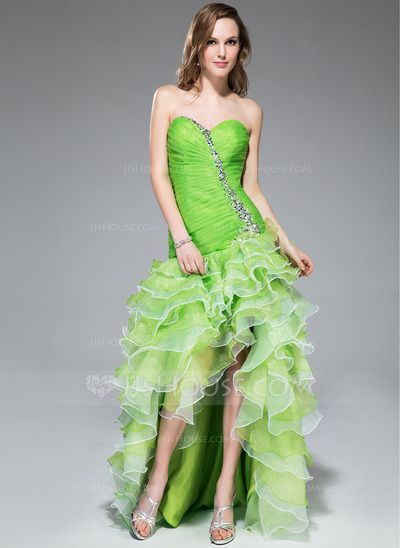 [US$ 158.99] A-Line/Princess Sweetheart Asymmetrical Organza Prom Dress With Beading Sequins Cascading Ruffles (018043240)