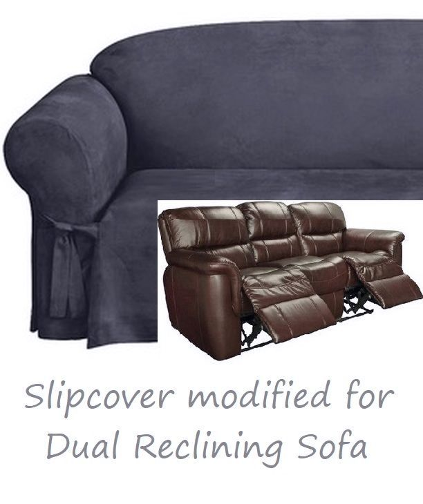 Dual Reclining Sofa Slipcover Midnight Blue Suede Sure Fit Couch