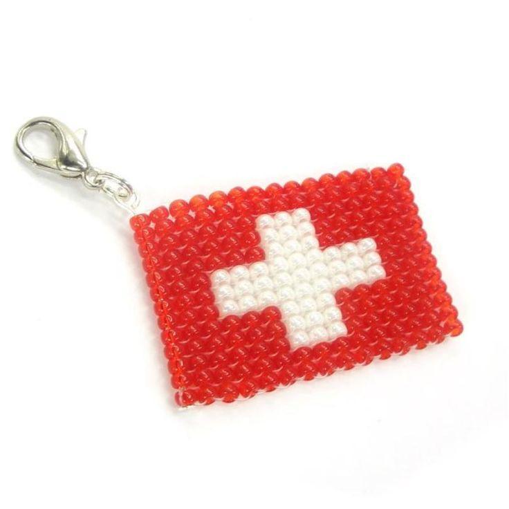 Anhänger - Schlüsselanhänger - Flagge Schweiz - EM - WM - Fanartikel - Handarbeit