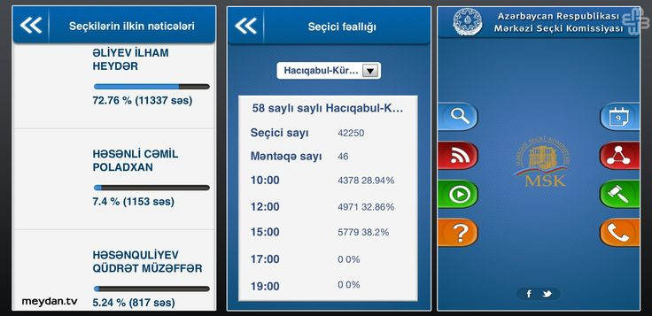 The Azerbaijani Central Election Commission sent out these vote totals to its official smartphone app before voting started. (meydan.tv)