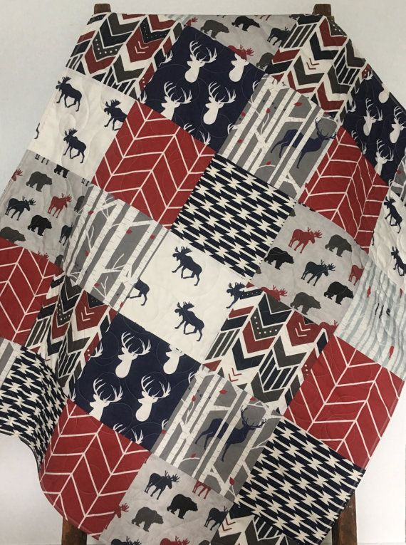 Baby Boy Quilt Woodland Baby Bedding Moose Buck by CoolSpool