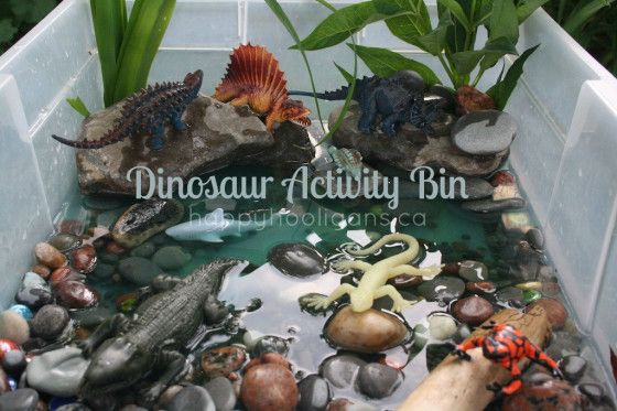dinosaur activity bin - this water play activity was a huge hit with the hooligans