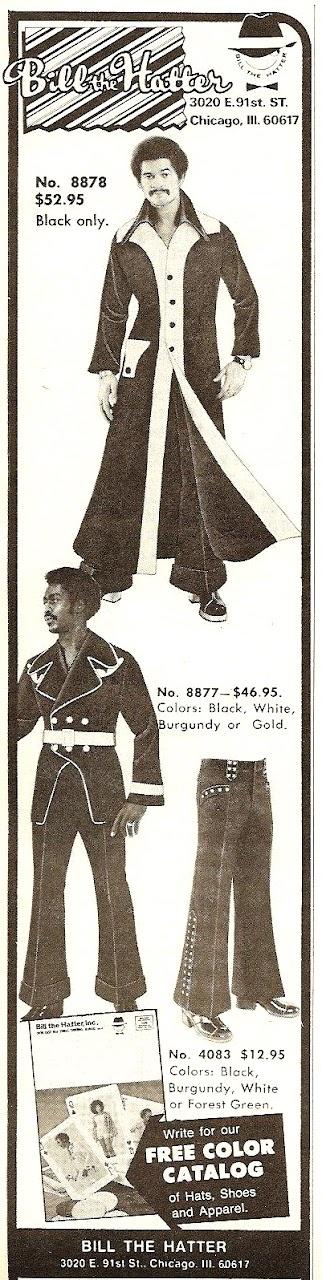 Fashion ads from Ebony Magazine, 1970 - '76