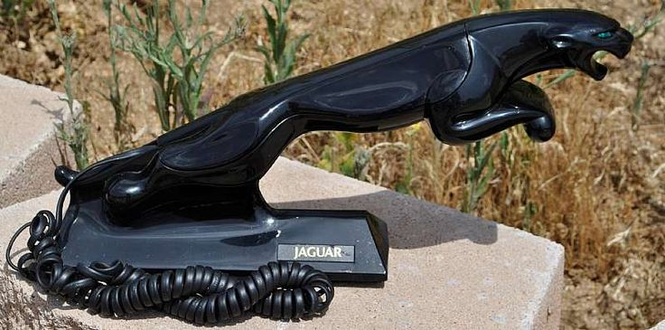 For sale at Retrophoria.com, $130.00 - RARE 1980's Black Jaguar Car Promotional Telephone. This phone, made by Unical, marked