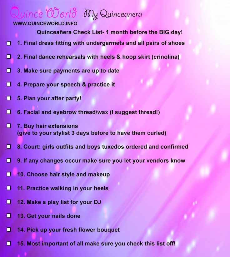 Sizzling image for quinceanera checklist printable