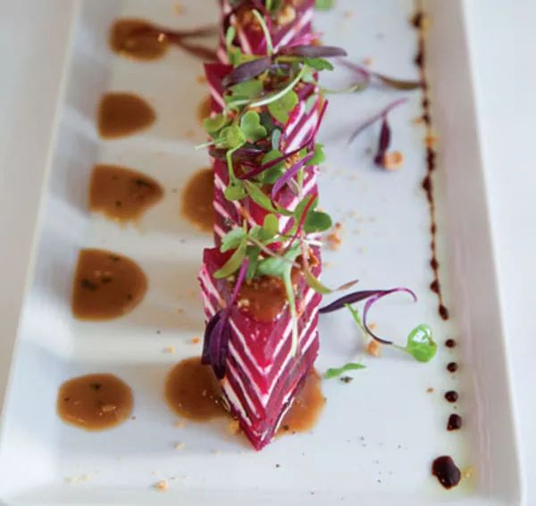 These elegant beet and goat cheese appetizers come from Wolfgang Puck's Los Angeles restaurant Spago.