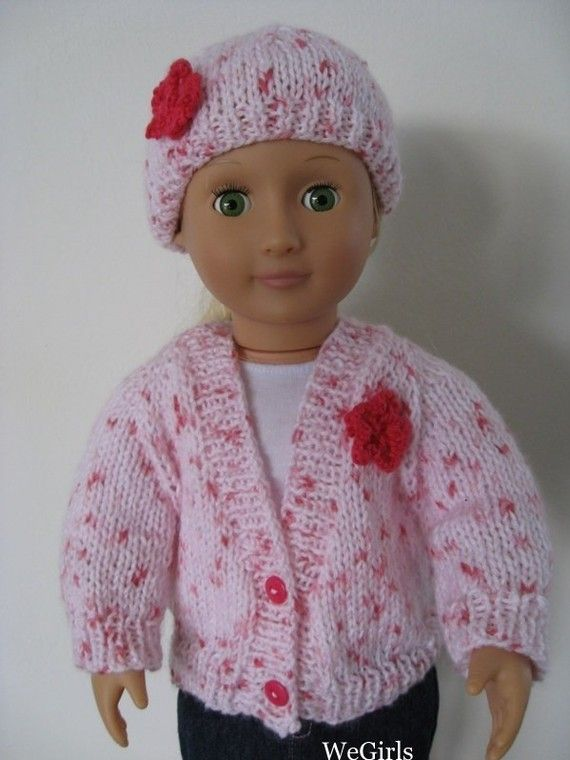 Knitting Pattern 18 inch American Girl Doll V-Neck Cardigan and Hat easy to knit top down pdf instant download