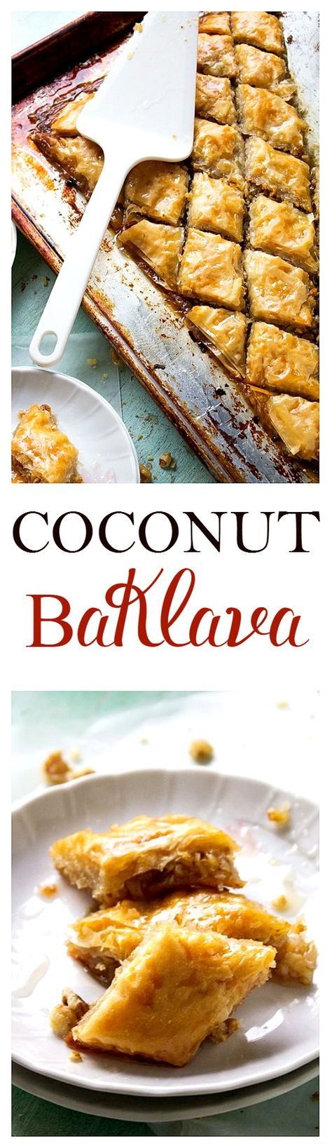 Coconut Baklava - Layers of flaky, buttery phyllo sheets filled with a deliciously moist combination of shredded coconut and walnuts. Get the recipe on http://diethood.com