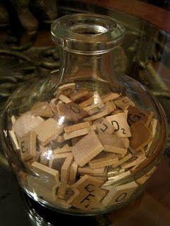 decorate with vintage game pieces...letters, black dominoes, etc. would be great in a basement/game room