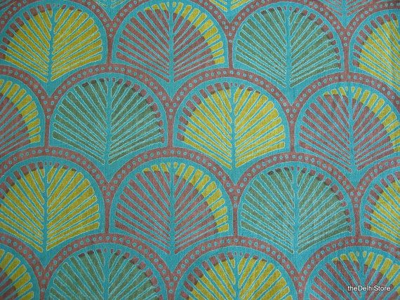 Leaf Print Indian Block Print Cotton Fabric By By TheDelhiStore, $12.00