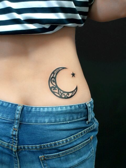 Moon, star tattoo back, hip #eternity