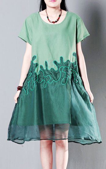 Green silk lace linen sundress summer shift dresses oversize cotton maternity dress