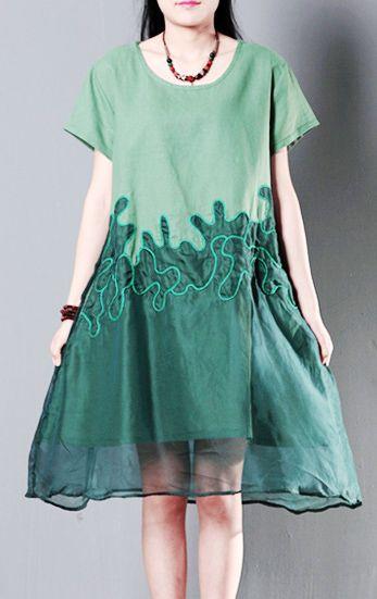 Green silk lace linen sundress summer shift dresses oversize cotton maternity dress