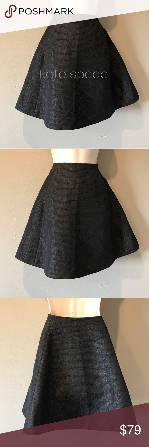 Kate Spade Black Circle Skirt, size 12 Beautiful Kate spade black textured and metallic circle skirt in excellent preowned condition. The metallic gives it a bit of sparkle, also has pockets :-) fully lined, size is 12 kate spade Skirts