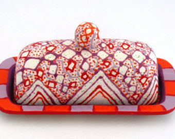 Hand Painted Butter Dish