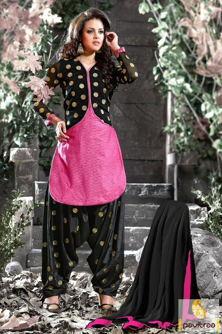 pink- Black Cotton Embroidery Patiala Salwar Suit