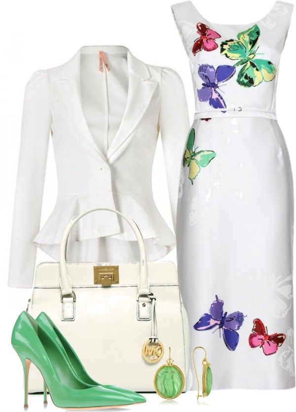 Cute....Butterfly dress + white high low blazer