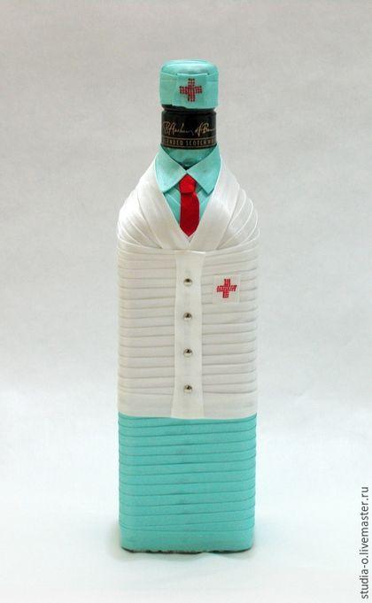 Подарочное оформление бутылок ручной работы. Ярмарка Мастеров - ручная работа. Купить Бутылка Врач, Доктор, Медицинский работник, Медсестра, Медбрат.. Handmade.