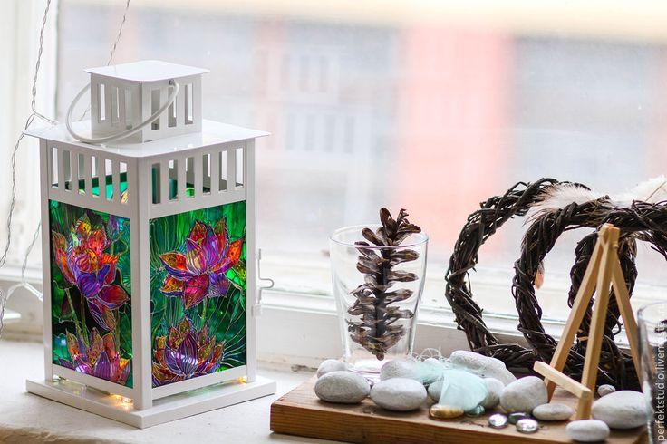 """Купить Фонарь """"Цветы Лотоса"""" - фонарь, фонарик, фонарь подсвечник, Декор, декор…"""