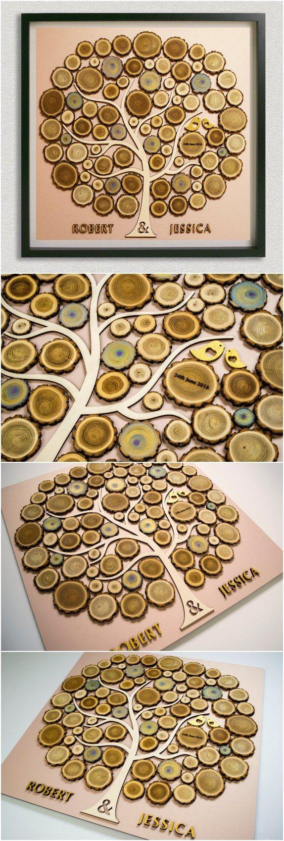 tree wood rustic wedding rustic guest book / http://www.deerpearlflowers.com/rustic-country-wood-wedding-guest-books/