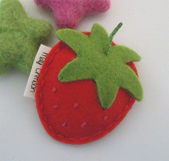 NO SLIP Wool felt hair clip British strawberry mini by MayCrimson, $7.00