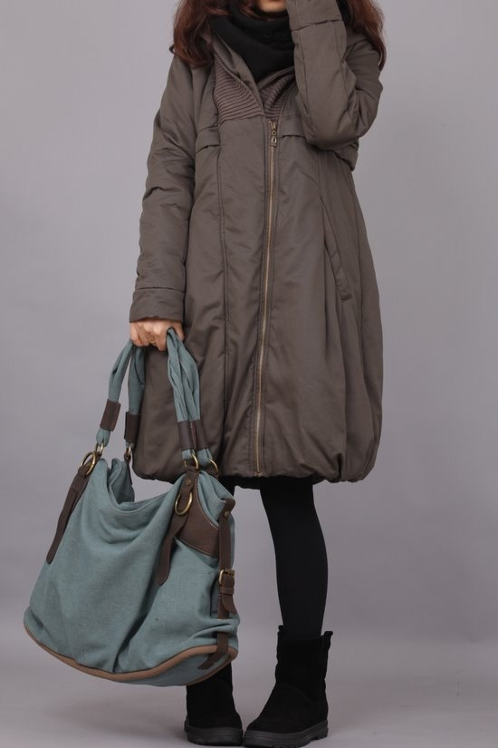 Army green Zipper hood padded coat 5 colors by MaLieb on Etsy, $129.00