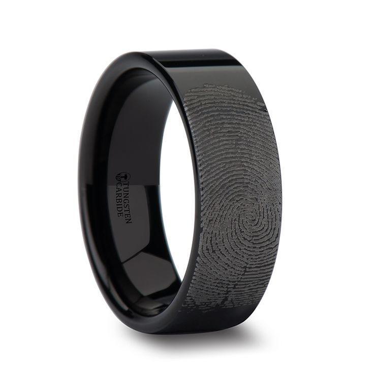 Fabricius Flat Pipe Cut Black Tungsten Ring Polished and Fingerprint Engraved - uniquetungstenrings