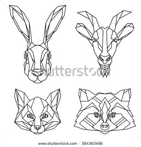 Набор зайца, козы, лисы и енота вектор головами животных нарисованных в линии или треугольника стиле, подходит для…