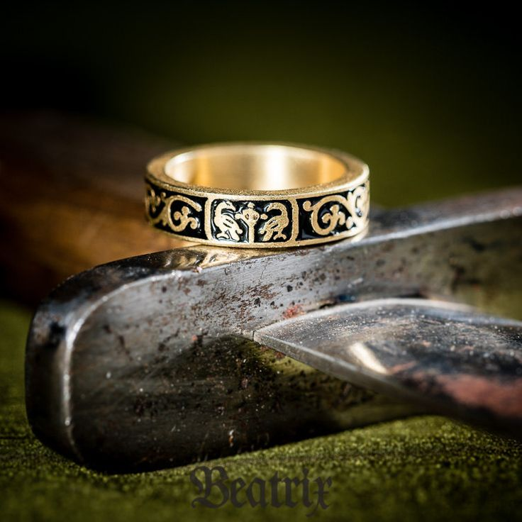 French medieval ring made according to exhibit from Antique house. Material: brass gilded with 18 k gold Decoration: dark blue hot enamel Era: 12th-13th century