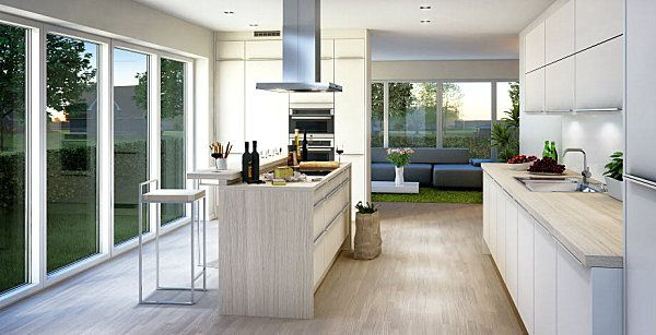 Speaking of large windows, the light and airy kitchen below is striking in its use of clean lines and open spaces. Ultra modern Scandinavian design at its finest! [from Marbodal]