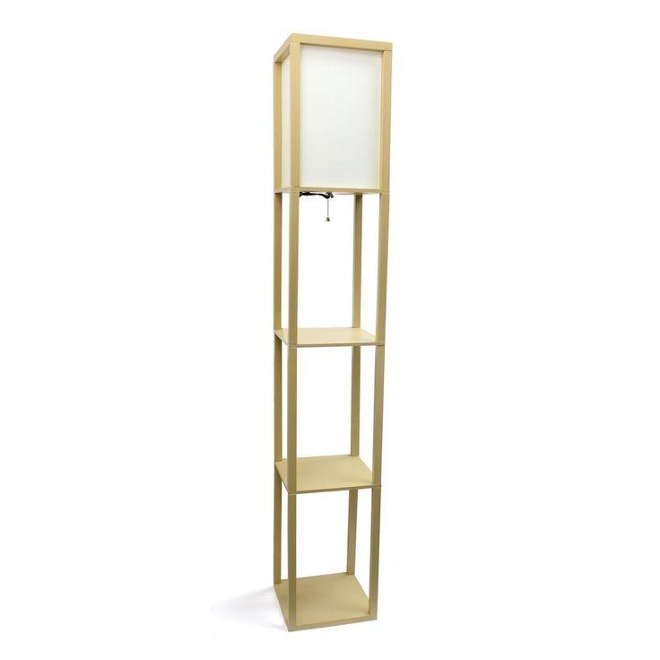 Simple Designs 62.75 in. Tan Floor Lamp Etagere Organizer Storage Shelf with Linen Shade