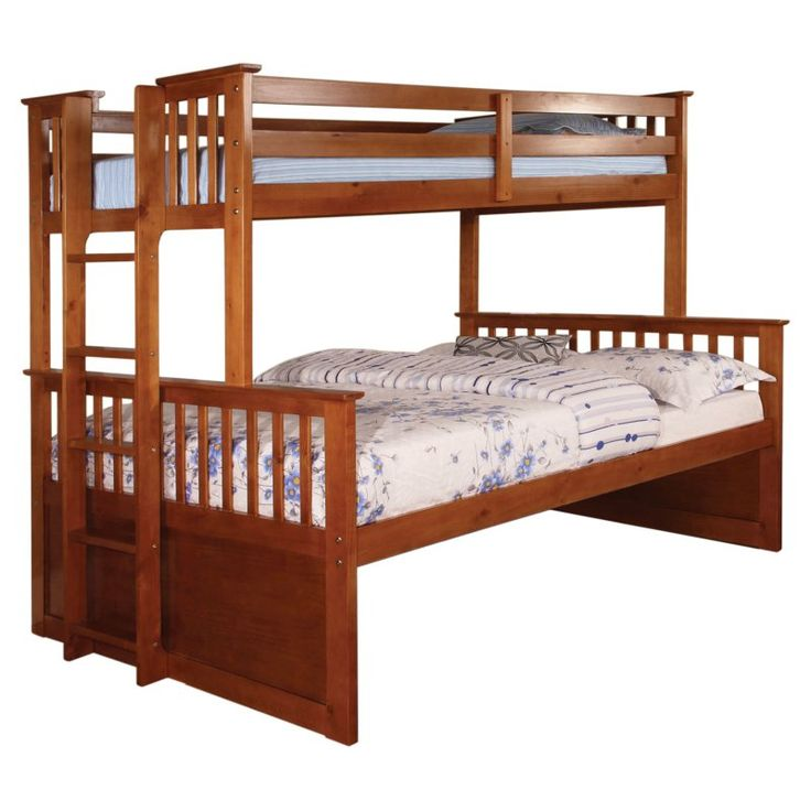 Furniture of America Williams Twin Over Queen Bunk Bed - IDF-BK458Q-OAK