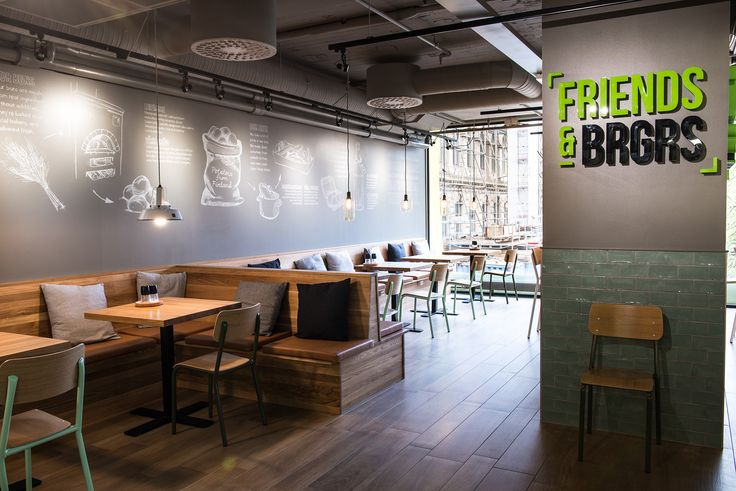 Modern style burger restaurant in Helsinki, Finland. Texts on the wall drawn with real chalk :) #restaurant #design #interior