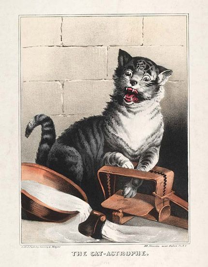 Another #MuseumCats item in our collection: this 1846 lithograph by the Sarony & Major firm of New York shows a cat caught in a trap.